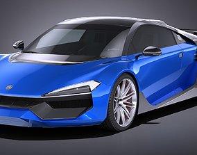 LowPoly Generic Supercar 2018 3D asset