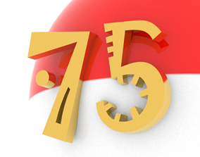 3D asset Indonesia 75th Independence Day Logo