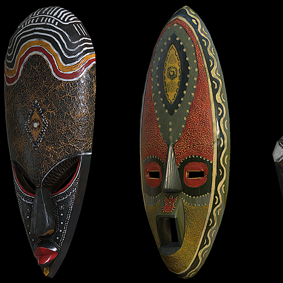 Tribal Pack - Masks and Wood Sculpture