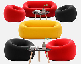 3D Sofa and armchair Serie Up 2000 with Table large