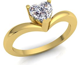 Solitaire Diomand Ring 3d Model print platinum