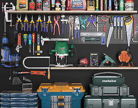 garage tools set 3 3D asset