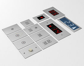 Elevator Control Panels Collection with LED 3D model