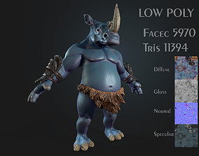 3D model Rhinoceros warrior Low-poly