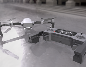Quadrocopter With Remote Controller 3D asset