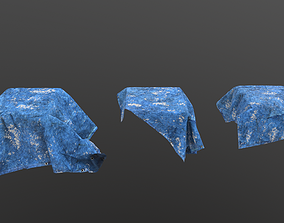 Blue tarp set 3 - PBR 3D asset