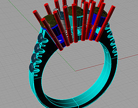 3D printable model Diamond Trilogy Engagement Ring 3