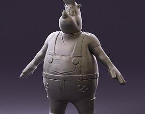 Humanoid man rhino 0885 3D Print Ready realistic