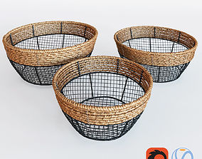 Black Iron Wire Round Wide-Mouth Basket With Seagrass 3D