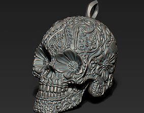 Flowers skull keychain 3D print model