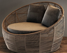 3D model Tamarin Round Grey Resin Wicker Garden Armchair