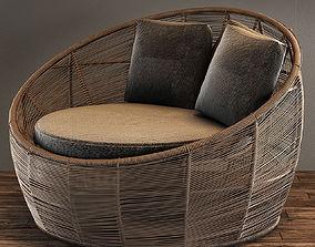 3D model Tamarin Round Grey Resin Wicker Garden Armchair