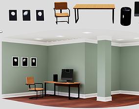 Simple Industrial Office Furniture Set Pack Low 3D asset 1