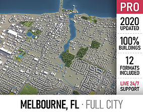 Melbourne - Florida - city and surroundings 3D asset