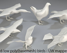 3D asset Birds - 6 pieces-low poly-part 4