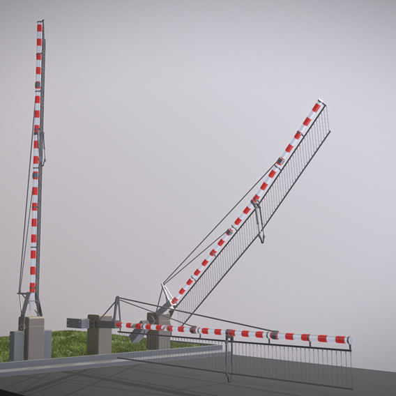 Railroad Barrier 7m Protective Grid High-Poly (Blender-2.91 Eevee)