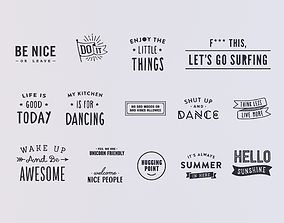 3D Set of stickers text