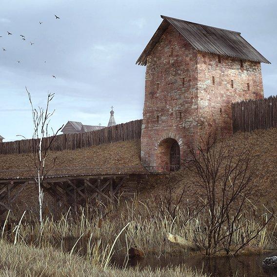 Medieval  Russian City, XIV c.