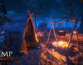 3D model low-poly CAMP - Game Props
