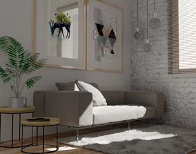 living room 3D asset VR / AR ready comfort