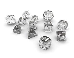 Polyhedral Dice Set - Glass 3D model