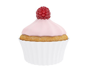 Cupcake with raspberry and pink cream 2 3D model