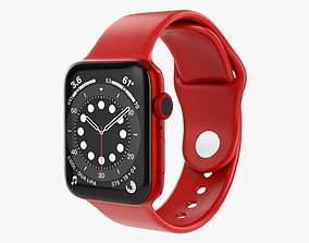 3D model Apple Watch Series 6 silicone loop red