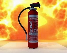 3D model Red fire extinguisher