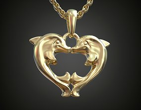 Pendant Dolphins Kissing Heart 3D printable model