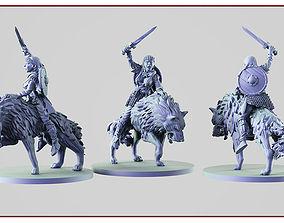 Viking on a wolf 3D print model