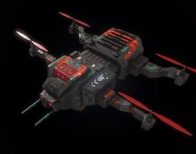 Low poly futuristic military quadcopter 3D model