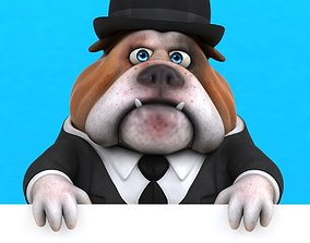 Fun cartoon Bulldog with a suit 3D model animated