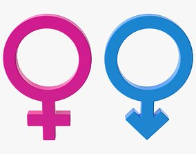 3D asset Male and Female Symbol