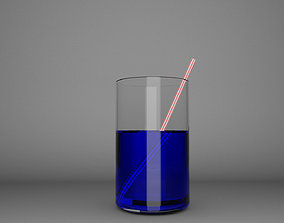 Juice Glass with Straw 3D