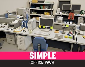 Simple Office Interiors - Cartoon 3D model