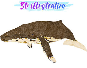Low Poly Whale Illustration Animated - Game Ready 3D model