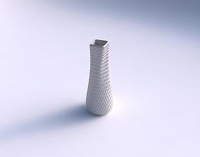 3D printable model Vase semi quadratic with grid piramides