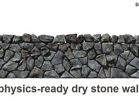 Dry stone wall 3D model