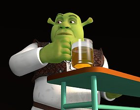 3D Rigged Shrek model with demo animation