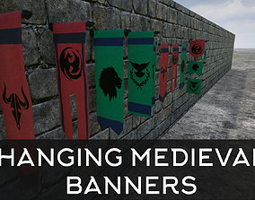 3D model Hanging Medieval Banners