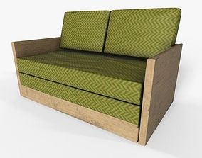 3D model Wooden 2 Seater Couch-Sofa