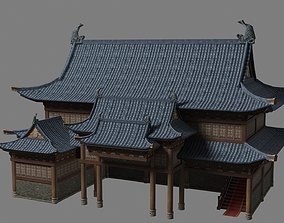 Ancient Chinese Shop Buildings with Internal 3D asset