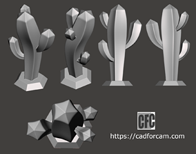 Stylized cactus sculpture - 3D printable model