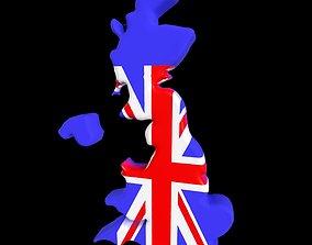 game-ready United Kingdom Map 3D model
