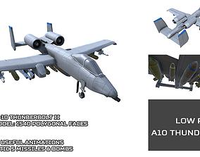 3D asset Low Poly A10 Thunderbolt II