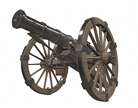 Medieval pirate cannon 1 3D