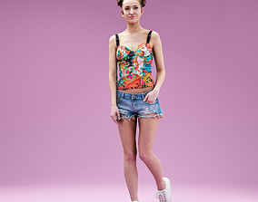 3D asset Cute Girl posing in Jeans Shorts Sneakers and 1