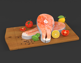 Salmon Steak with Vegetables 3D model