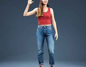 Woman in Baggy Jeans Red Top Waving 3D model