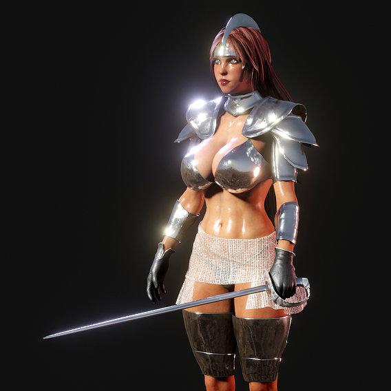 Woman in silver armor.